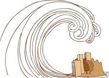 Onda di marea dei tsunami sulla città illustrazione di stock