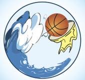 Onda di pallacanestro Immagine Stock