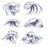 Onda di schizzo Spruzzata delle onde del mare dell'oceano Raccolta praticante il surfing disegnata a mano di vettore di scarabocc illustrazione vettoriale