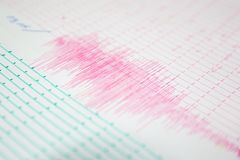 Onda di terremoto su una carta millimetrata immagine stock libera da diritti