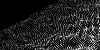 Onda digital abstracta del ruido de líneas y del fondo de los puntos tech Imagenes de archivo