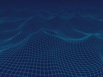 onda digitale astratta 3D Fondo del blu di tecnologia Fotografia Stock