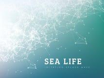 Onda do mar pelo ponto e pela linha conexão ilustração do vetor