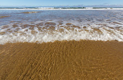 A onda dobra uma praia dourada da areia fotografia de stock royalty free