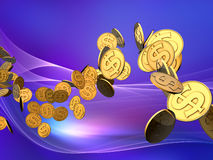 Onda dorata del dollaro Fotografia Stock Libera da Diritti