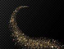 Onda dourada do brilho Fuga de partículas efervescentes no fundo transparente Traço abstrato do alargamento do ouro Torção clara ilustração royalty free