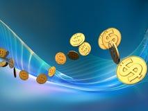 Onda dourada do dólar Imagem de Stock Royalty Free