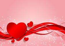 A onda e o coração vermelhos dão forma ao fundo, ilustração do vetor com espaço da cópia, conceito do dia do ` s do Valentim Fotos de Stock Royalty Free