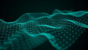 Onda futuristica del punto Fondo astratto con un'onda dinamica Illustrazione di tecnologia di dati royalty illustrazione gratis