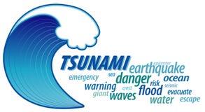 Onda gigante del tsunami, nube de la palabra Imágenes de archivo libres de regalías