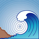 Onda gigante do tsunami (JPG+EPS) Imagem de Stock