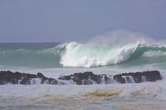 Onda grande, costa norte Oahu, Havaí Imagem de Stock