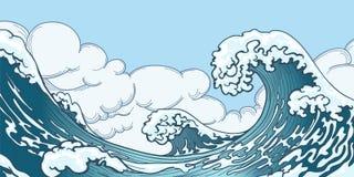 Onda grande del océano en estilo japonés ilustración del vector