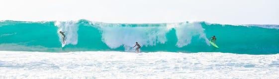 Onda grande que practica surf en Hawaii Imagen de archivo libre de regalías
