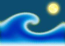 Onda iluminada por la luna Stock de ilustración