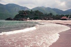 Onda macia do oceano azul em um Sandy Beach Com o borrão toning imagem de stock