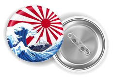 Onda mt del mare di Giappone Fuji sulla fibula della bandiera del sol levante illustrazione vettoriale
