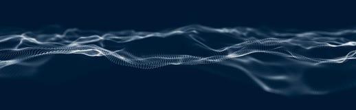 Onda musical de partículas Conexiones estructurales sanas Fondo abstracto con una ola de partículas luminosas Onda 3d stock de ilustración