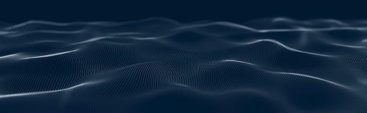 Onda musical de part?culas Conexiones estructurales sanas Fondo abstracto con una ola de part?culas luminosas Onda 3d stock de ilustración