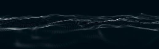 Onda musical de part?culas Conexiones estructurales sanas Fondo abstracto con una ola de part?culas luminosas Onda 3d ilustración del vector