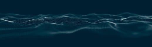 Onda musicale delle particelle Collegamenti strutturali sani Fondo astratto con un'ondata di particelle luminose Wave 3d illustrazione vettoriale