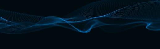 Onda musicale delle particelle Collegamenti strutturali sani Fondo astratto con un'ondata di particelle luminose Wave 3d illustrazione di stock