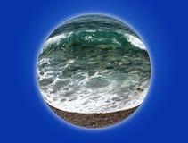 Onda na costa do seixo do mar collage fotografia de stock royalty free
