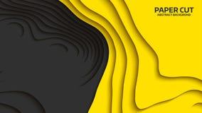Onda negra y amarilla Abstraiga el corte del papel Ondas coloridas abstractas Banderas onduladas Forma geométrica del color Corte Imagen de archivo