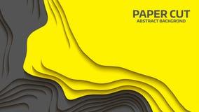 Onda negra y amarilla Abstraiga el corte del papel Ondas coloridas abstractas Banderas onduladas Forma geométrica del color Corte Imagen de archivo libre de regalías