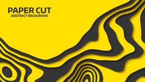 Onda negra y amarilla Abstraiga el corte del papel Ondas coloridas abstractas Banderas onduladas Forma geométrica del color Corte Fotos de archivo libres de regalías
