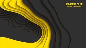 Onda negra y amarilla Abstraiga el corte del papel Ondas coloridas abstractas Banderas onduladas Forma geométrica del color Corte Imagenes de archivo