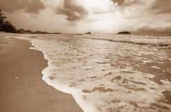 Onda no tom do Sepia da praia da areia imagem de stock
