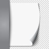 A onda nova da página branca na folha vazia isolou o papel Realístico esvazie a página dobrada Etiqueta transparente do projeto B Fotos de Stock Royalty Free