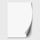 Onda nova da página branca no papel da folha vazia Realístico esvazie a página dobrada Etiqueta transparente do projeto Vetor Imagens de Stock