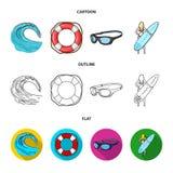 Onda próxima, anel de vida, óculos de proteção, surfar da menina Ícones ajustados surfando da coleção nos desenhos animados, esbo Fotografia de Stock Royalty Free