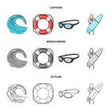 Onda próxima, anel de vida, óculos de proteção, surfar da menina Ícones ajustados surfando da coleção nos desenhos animados, esbo Imagens de Stock