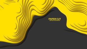 Onda preta e amarela Abstraia o corte do papel Ondas coloridas abstratas Bandeiras onduladas Formulário geométrico da cor Corte d ilustração stock
