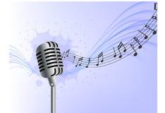 A onda realística do microfone do fundo abstrato da música nota o fundo azul ilustração stock