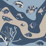 Onda sem emenda dos peixes do aquário do teste padrão Fotos de Stock Royalty Free