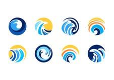 Onda, sol, círculo, logotipo, viento, esfera, extracto, remolino, elementos, diseño del vector del icono del símbolo del concepto Fotografía de archivo libre de regalías