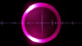 Onda sonora con l'elemento circolare luminoso su fondo, ciclo senza cuciture illustrazione vettoriale