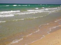 Onda suave del mar en la playa arenosa almacen de metraje de vídeo