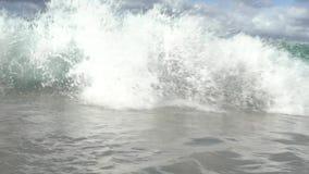 Onda vítreo do movimento lento no shorebreak de Havaí vídeos de arquivo