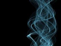 Onda y humo azules en fondo negro ilustración del vector