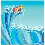 Onda y pez de colores del mar Fotografía de archivo