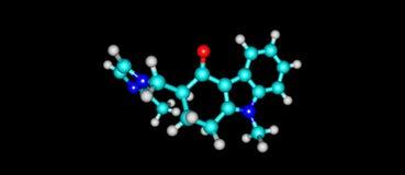Ondansetron molecular structure isolated on black Royalty Free Stock Photos
