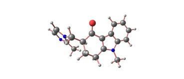 Ondansetron molecular structure isolated on white Royalty Free Stock Photos