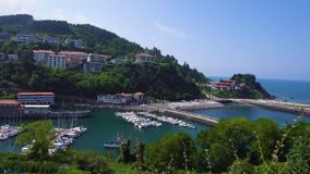 Ondarroa town and port. View of Ondarroa town and port from above, Pais Vasco Spain stock footage
