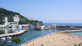 Ondarroa town and port. View of Ondarroa town and port, Pais Vasco Spain stock video footage