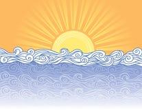 Ondas abstratas do mar. ilustração stock